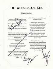 OF MONSTERS AND MEN GROUP SIGNED KING AND LIONHEART LYRIC SHEET