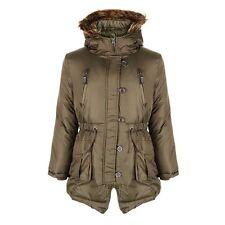 NUEVO niña Minx Parka chaqueta de invierno Abrigo Escuela Negro Caqui