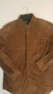 POLO RALPH LAUREN MENS BROWN BUTTER SUEDE LEATHER BUTTON SHIRT JACKET LARGE