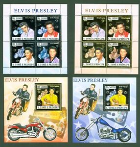 Sao Tomé + Principe 2006 - Elvis Presley - Gold Silber - 2924-31, Block 573/574