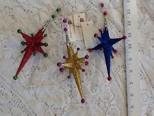 Set of 3 glitter star ornaments Vintage Home Interiors Gifts Gtc