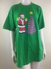 Simpsons Mens 2XL Green Homer Santa Beer Tree Tee Shirt Christmas Novelty
