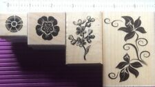 """4 x """"Different Colors"""" Wooden Stamp Set.  New"""