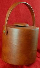 Kraftware Vintage Brown Vinyl Ice Bucket Mid Century Modern Bar Ware Exc. Cond.