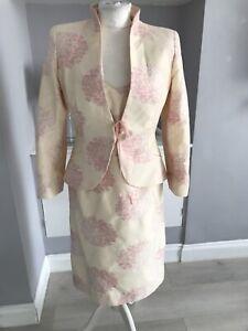 Zeddra Two Peice Dusk Pink Flower Dress Suit Silk Blend Special Occasion Size 10