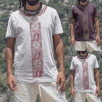 Men's African Dashiki T-Shirt Ethnic V Neck Short Sleeve Casual Tops Tee Blouse