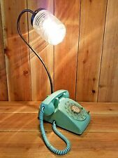 Vintage Robins Egg Blue Rotary Telephone Repurposed Accent Lamp table green bell