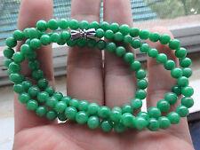 Natural Genuine A Jadeite Jade Full Green Round Bead Necklace