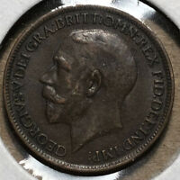 1919 Great Britain King George 1 Farthing Bronze Coin AU Condition