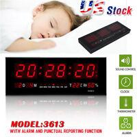 Large Big Modern Digital LED Wall Clock 24 Hour Display Timer Alarm Home Decor