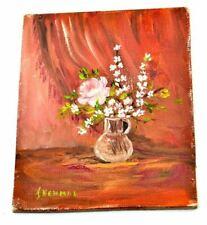 "Art Miniature 5"" x 4"" Still Life Flower Vase Painting Signed I Newman Inewman"
