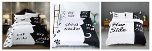 Funny Her Side His Side Cat Side My Side Cat Dog Person Bedding Set Duvet Cover