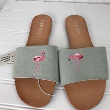 NEW Womens ESPRIT Denise Flamingo Slip On Sandals Shoes Sz 10 Greenish