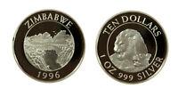 s1162_11) Zimbabwe 1996 LIONS 10 Dollars 1oz Silver Proof