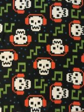 "Skull With Headphones Soft Fleece Fabric 2 Yards x 60"" Pixelated Design Black"
