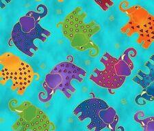 Mythical Jungle Elephant Toss Y2139-34M DARK Aqua Blue w/Met by Laurel Burch BTY