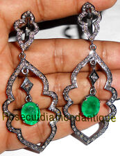 Sterling Silver Emerald Earrings Jewelry Repro Hand-Made 2.06ct Rose Cut Diamond