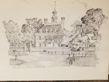 "Four Sketches of Colonial Williamsburg Drawings by Charles Overly 15"" by 11.5"""