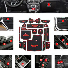 19pcs For Jeep Wrangler Jl 2018 Accessories Door Mats Gate Slot Mat Cup Pads Red