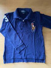 GENUINE Ralph Lauren Boys Polo Shirt Age 6 Big Pony Long Sleeved Navy