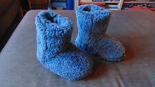 M&S Fleece Fully Lined Pull On Boot Slippers UK 7 EU 24 (Infants) Blue BNWT