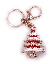 Abeto Árbol de Navidad Rojo con Piedras Llavero de Metal