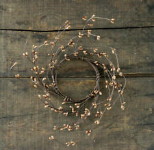 Pip Berry Candle Ring Tea Stain Tan 3.5 inch Small Wreath Primitive Floral Decor