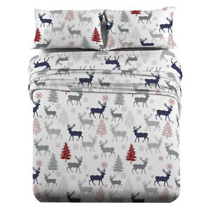 Heavyweight Printed Flannel Sheets 170GSM - Christmas Deer