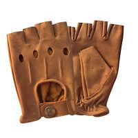 HalfFinger cycling driving motorbike fashion cow kashmira tan leather gloves 309