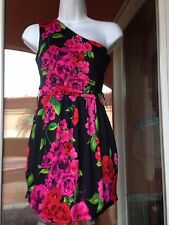1 shoulder size small 0-2 party banquet cocktail work dress black with flowers