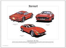 Clásico Ferrari The 1970's - Lámina Artística A3 Tamaño - 246 GT 308 GTS & 365