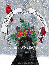 Merry Christmas Scottie Greeting Card Set of 10 Identical Scottish Terriers