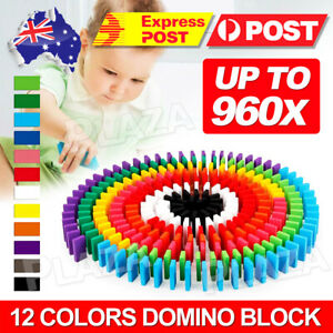 480/960pcs Wooden Domino Building Blocks Tumbling Dominoes Toy Christmas Gift