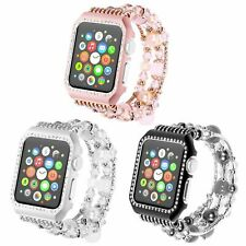 Bling Glitter Crystal Cover Agate Pearl Watch Band Strap for Apple Watch 5/4/3/2