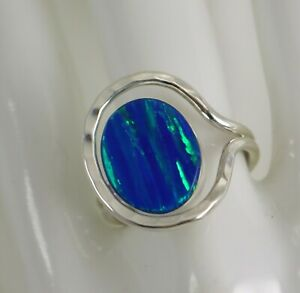 Mexican Sterling Silver Modernist Blue Green Opal Ladies Ring Size 7.75