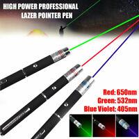 Blue Purple Green Red Beam Laser Lazer Light Pointer Pen Powerful 650/532nm