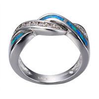 Blue Fire Opal CZ Cross Wedding Band Ring 10KT White Gold Filled Women Size 5-10