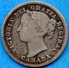 Canada 1886 Large 6 10 Cents Ten Cent Silver Coin - G/VG