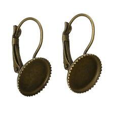 250 Boucle d'Oreille Support de Camée Cabochon Bronze 23x13mm