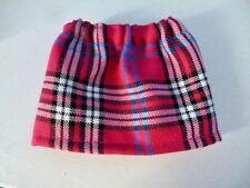 BJB Vintage Sasha dolls clothes, Pink white and black tartan plaid mini skirt
