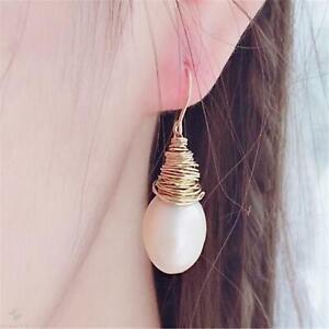 White Baroque Pearl Earrings Gold Ear Drop Dangle Women Classic Luxury Wedding