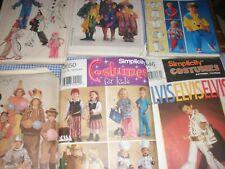 Lot of 7 Vintage Children's Halloween Costume Patterns  Elvis Clowns Et al.