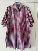 PREMIER MAN MENS RED WHITE BLUE CHECK SHIRT SIZE 4XL SHORT SLEEVE POCKET BUTTONS
