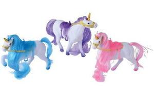 """Unicorn Pony, Set of 3 w/ Saddles, Gold Bridles, Horns,  Flocked 5"""" Long"""