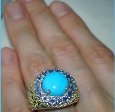 BIG TGW 5.6cts Sleeping Beauty Turquoise Tanzanite Ring Sterling Silver 925 sz 7