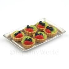 6 En Vrac Maison De Poupées Miniature Cerise Noire et Kiwi tartes sur plateau