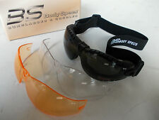 B.S, BodySpecs tactical goggles w/strap,&spare clear &amber lenses