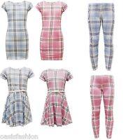 NEW GIRLS KIDS PINK/BLUE TARTAN MIDI BODYCON SKATER DRESS LEGGING 7-13