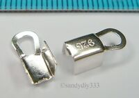 8x BRIGHT STERLING SILVER STRING CLIP LEATHER CORD END CRIMP CONNECTOR J018
