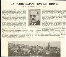 19 BRIVE LA FOIRE EXPOSITION  ARTICLE DE PRESSE PAR J. GOUTINES 1934